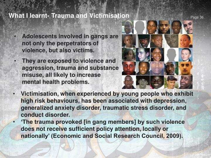 What I learnt- Trauma and Victimisation