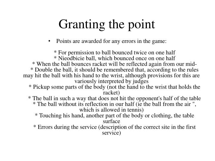 Granting the point