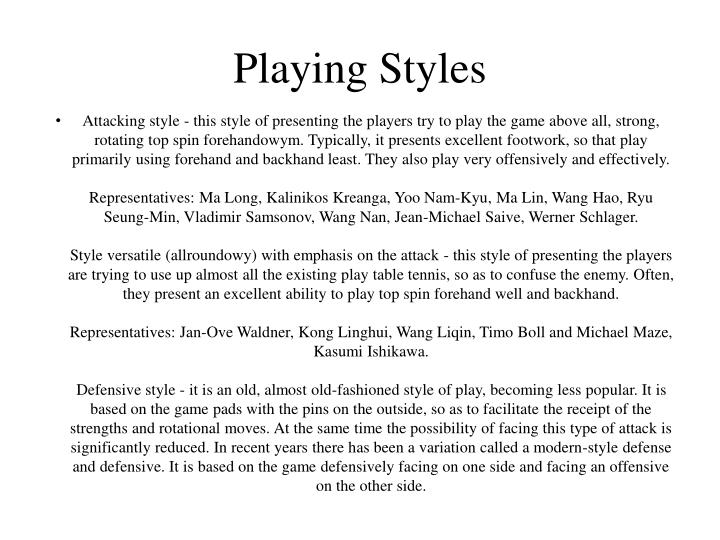 Playing Styles