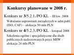 konkursy planowane w 2008 r