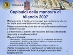 capisaldi della manovra di bilancio 2007