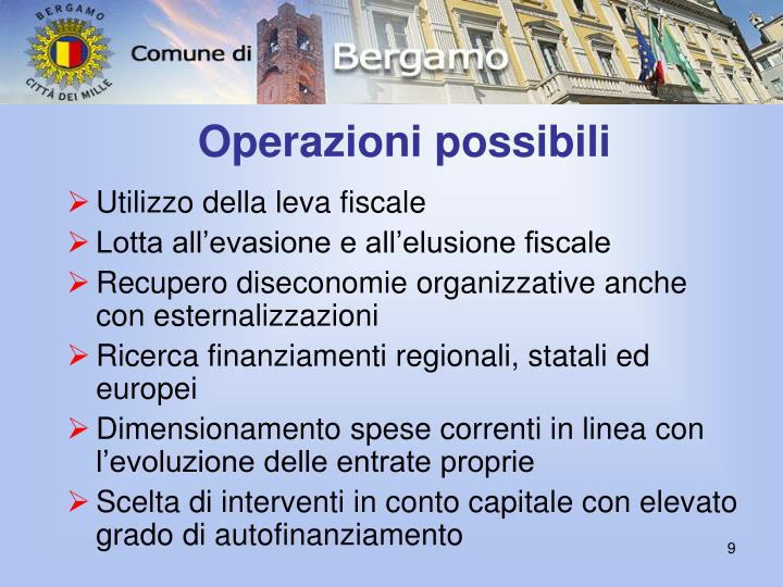 Operazioni possibili