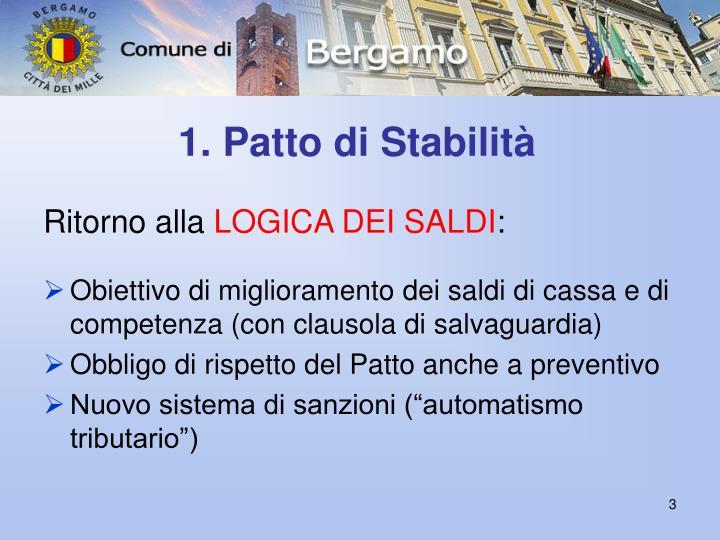 1. Patto di Stabilità