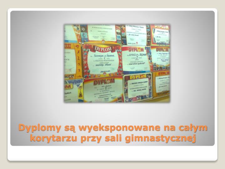 Dyplomy są wyeksponowane na całym korytarzu przy sali gimnastycznej