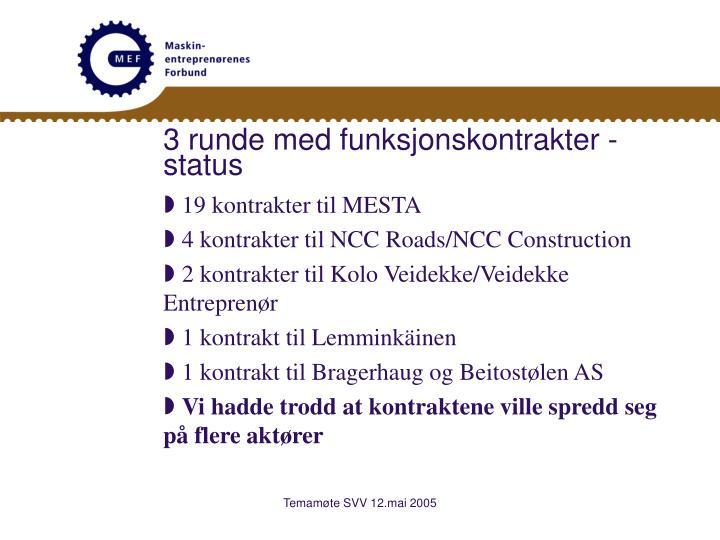 3 runde med funksjonskontrakter - status