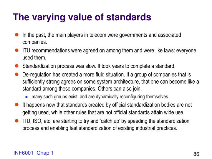 The varying value of standards