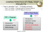 characteristics of final year projects