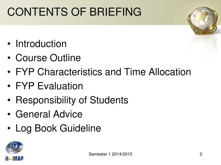 Contents of briefing