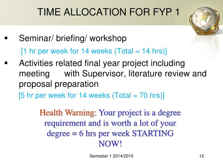 TIME ALLOCATION FOR FYP 1