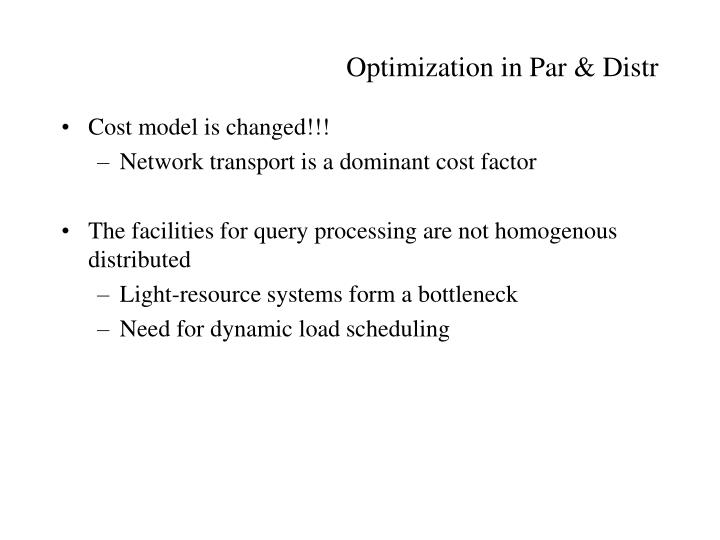 Optimization in Par & Distr