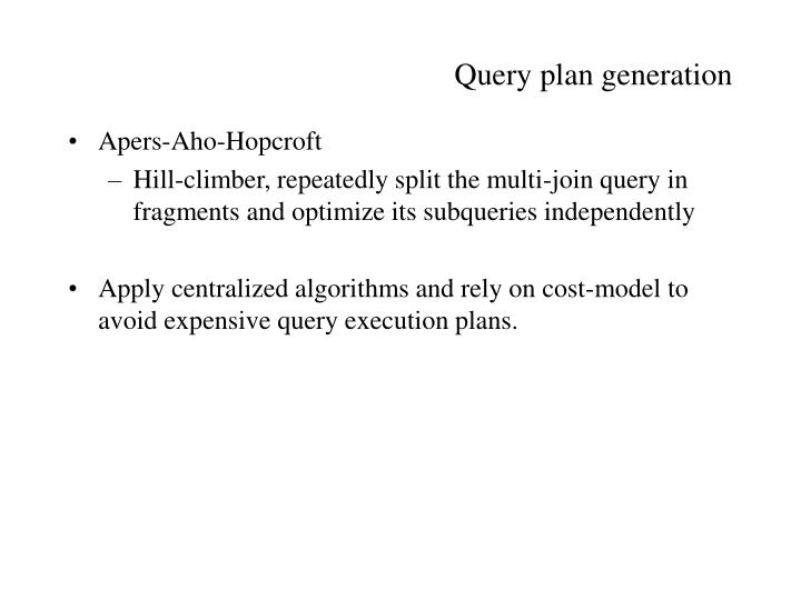 Query plan generation