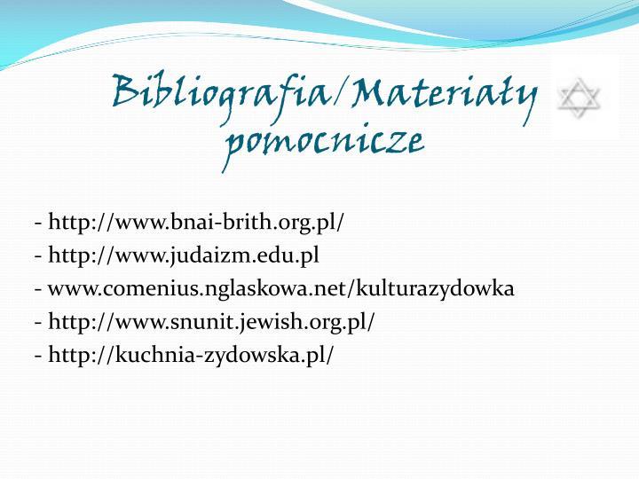 Bibliografia/Materiały pomocnicze