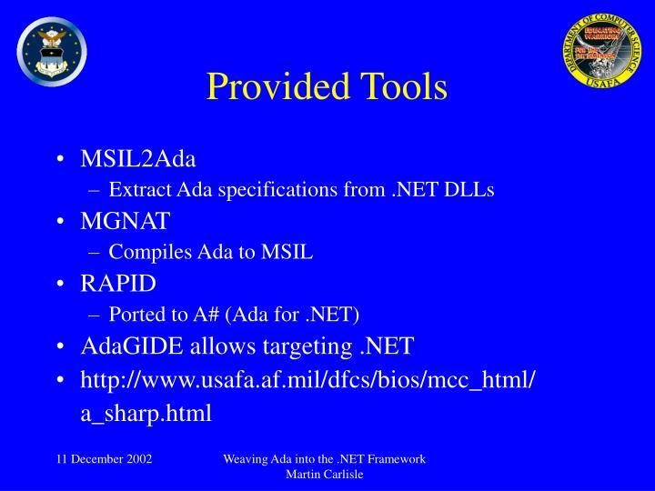 Provided Tools