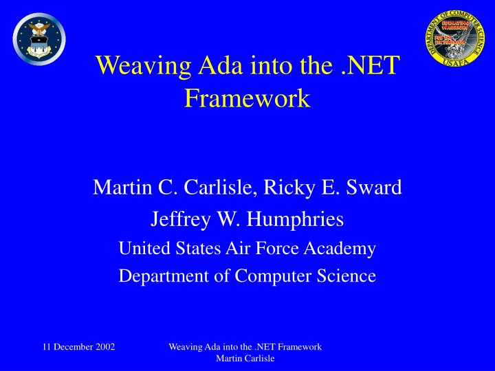 Weaving ada into the net framework