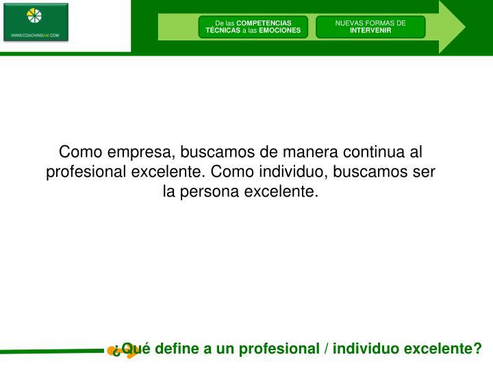 Como empresa, buscamos de manera continua al profesional excelente. Como individuo, buscamos ser la persona excelente.
