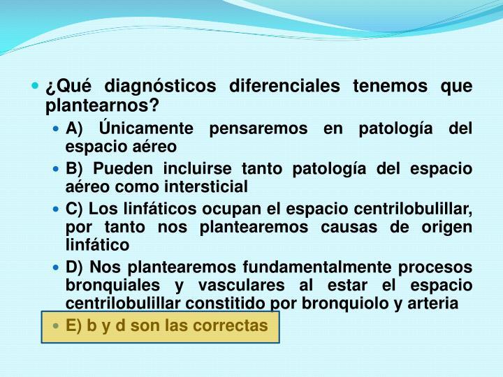 ¿Qué diagnósticos diferenciales tenemos que plantearnos?