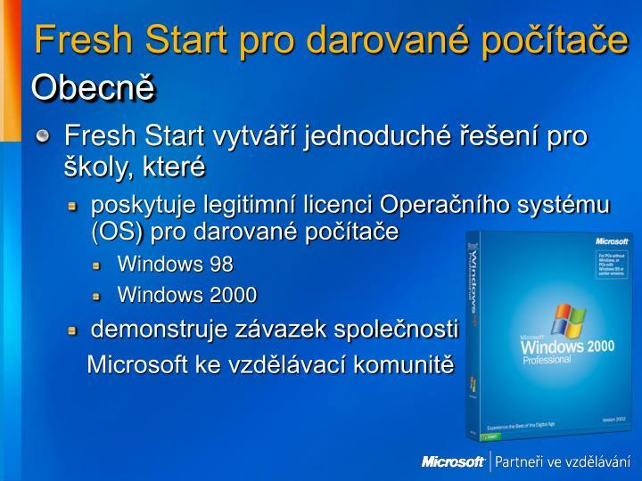 Fresh Start pro darované počítače