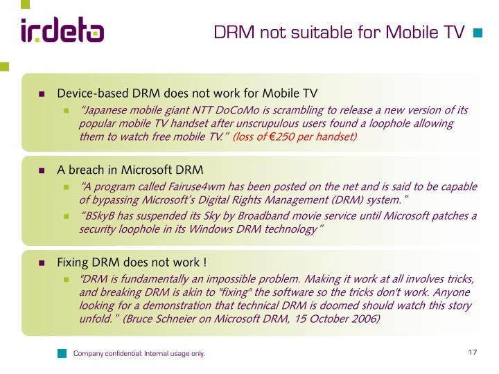 DRM not suitable for Mobile TV