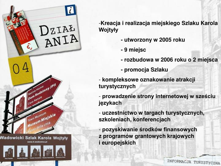 Kreacja i realizacja miejskiego Szlaku Karola Wojtyły