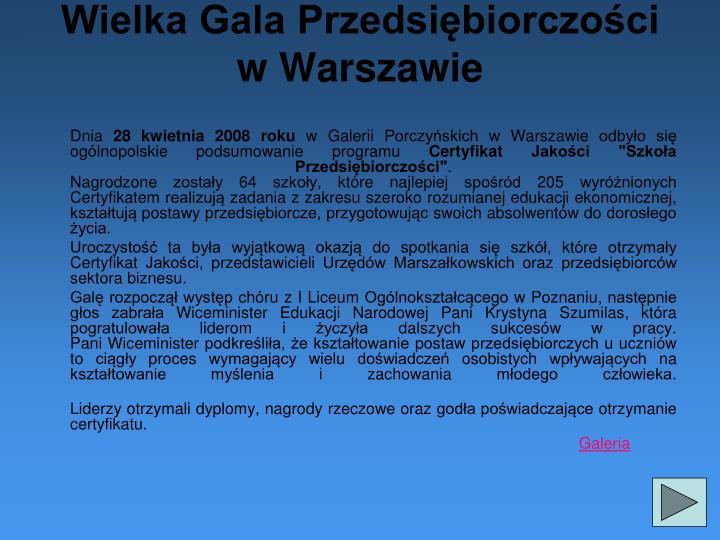 Wielka Gala Przedsiębiorczości w Warszawie