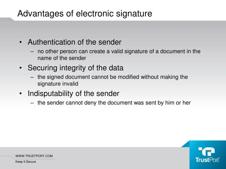 Authentication of the sender