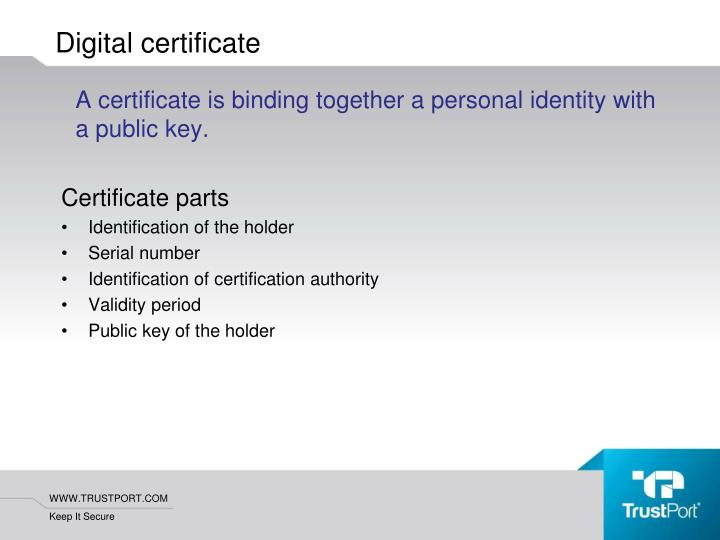 A certificate is binding together a personal identity with a public key.