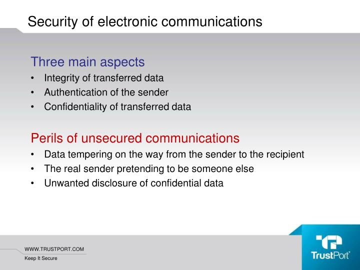 Security of electronic communications