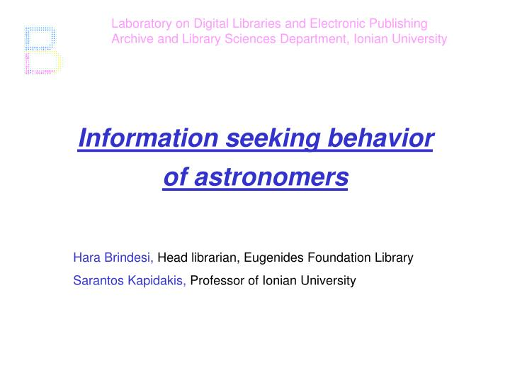 Laboratory on Digital Libraries and Electronic Publishing