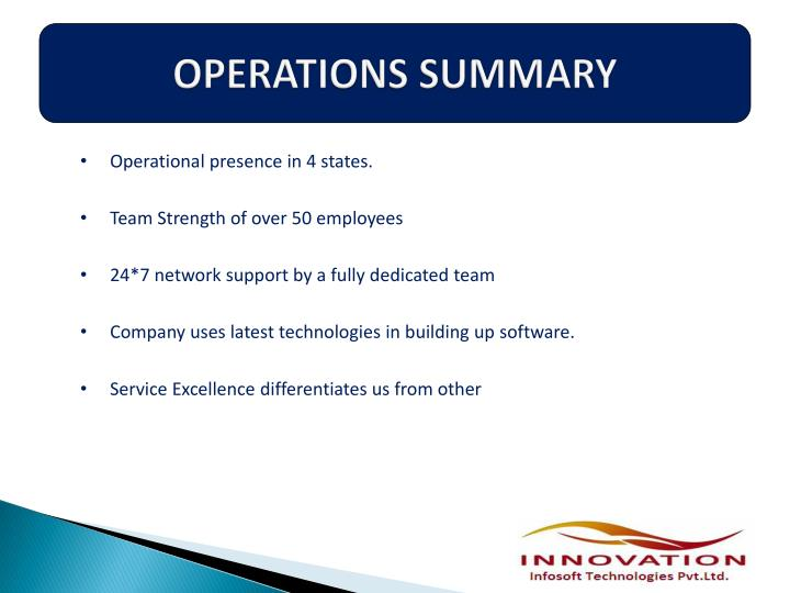Operations summary