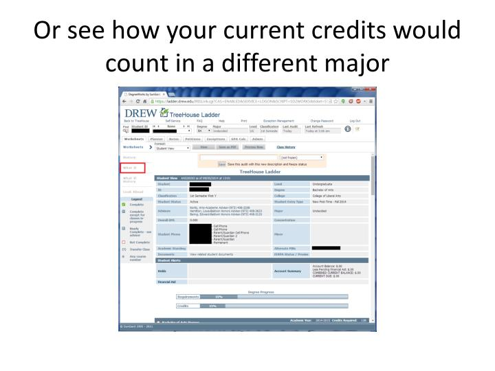 Or see how your current credits would count in a different major