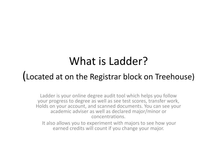 What is ladder located at on the registrar block on treehouse