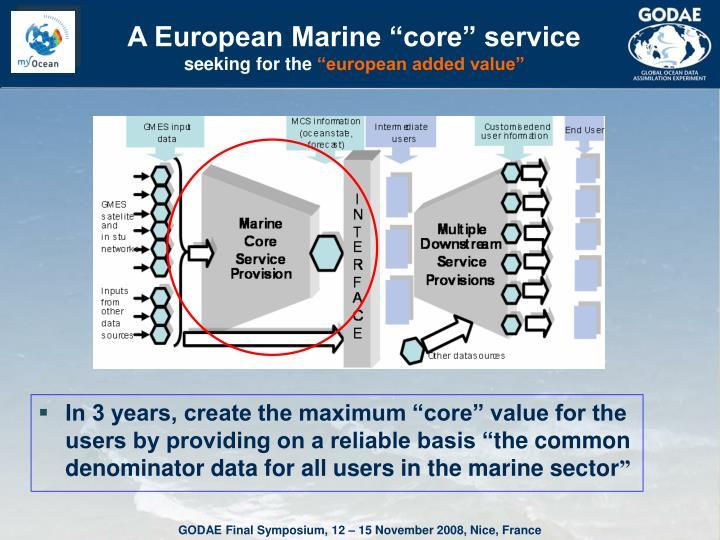 "A European Marine ""core"" service"