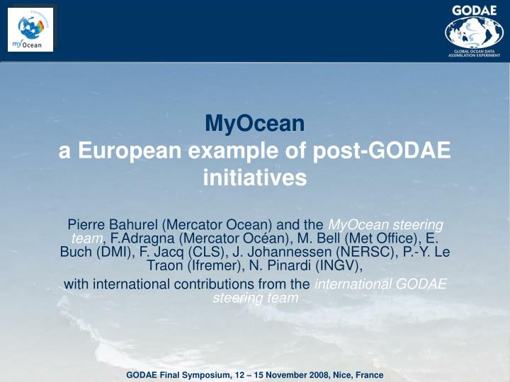 Myocean a european example of post godae initiatives
