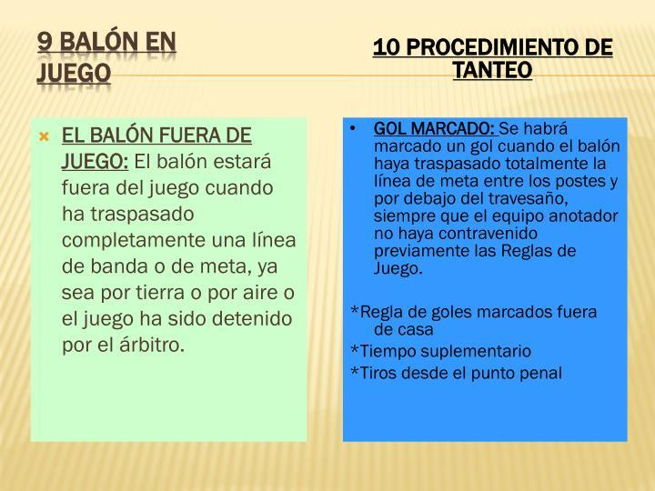 EL BALÓN FUERA DE JUEGO: