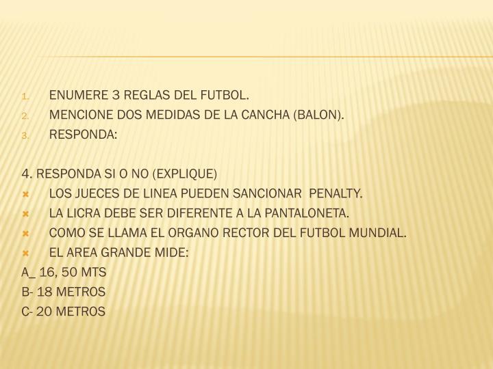 ENUMERE 3 REGLAS DEL FUTBOL.
