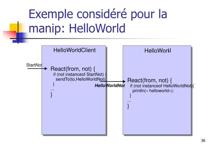 Exemple considéré pour la manip: HelloWorld