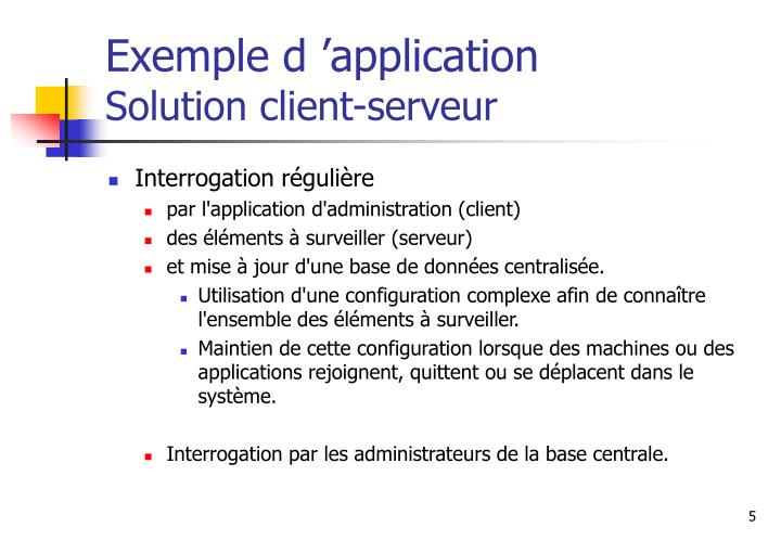 Exemple d application solution client serveur