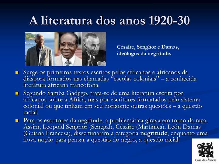 A literatura dos anos 1920-30