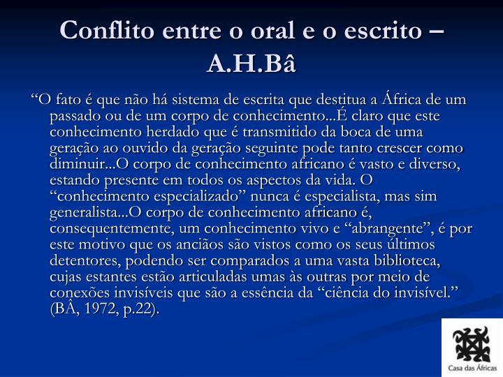 Conflito entre o oral e o escrito – A.H.Bâ