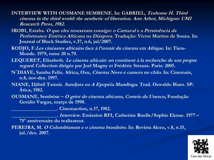 INTERVIEW WITH OUSMANE SEMBENE. In: GABRIEL