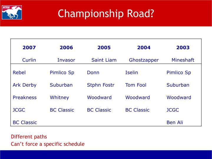 Championship Road?