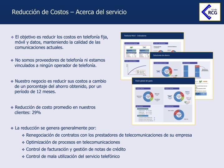 Reducción de Costos – Acerca del servicio
