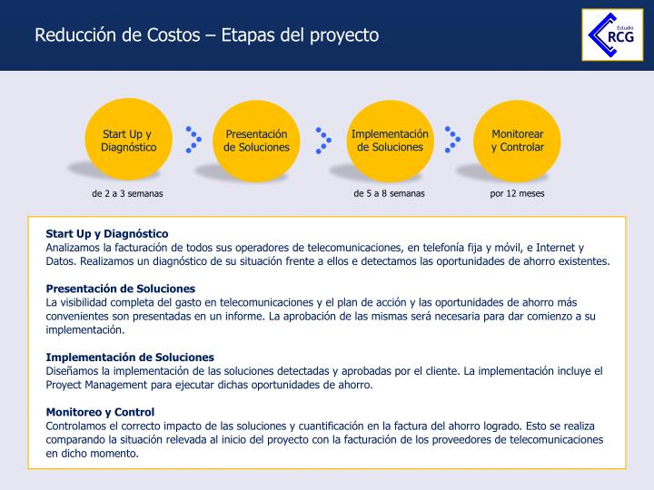 Reducción de Costos – Etapas del proyecto