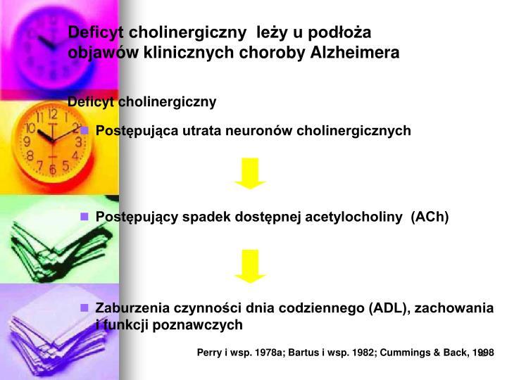 Deficyt cholinergiczny  leży u podłoża