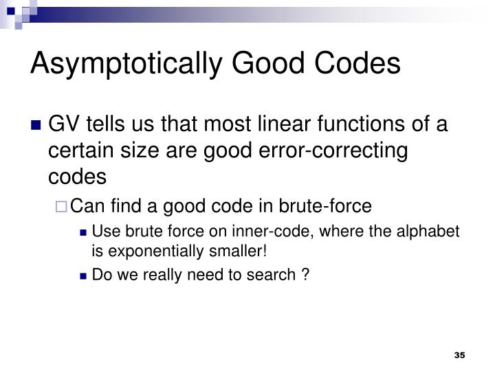 Asymptotically Good Codes