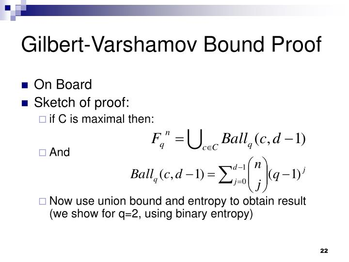Gilbert-Varshamov Bound Proof