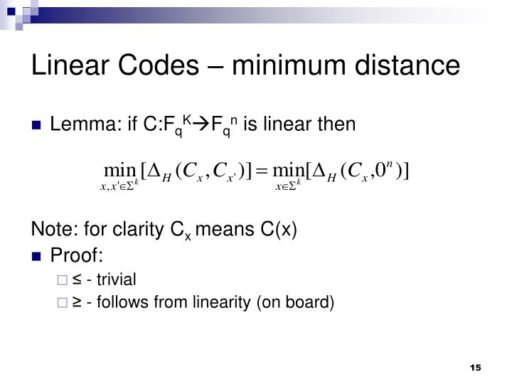 Linear Codes – minimum distance