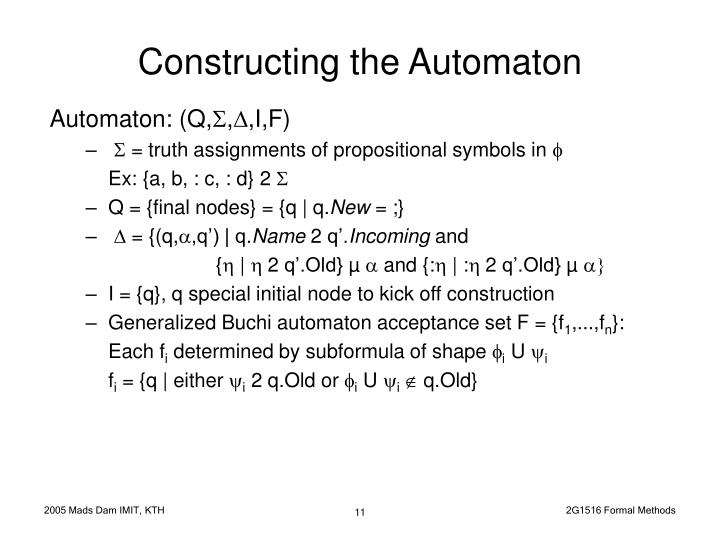 Constructing the Automaton