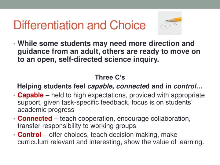 Differentiation and Choice