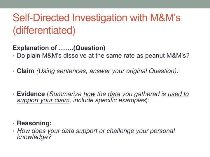 Self-Directed Investigation with M&M's (differentiated)